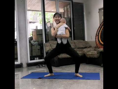 5 poses yoga Exercise with baby