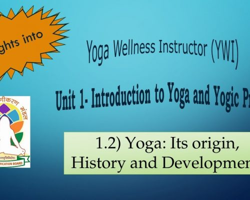 YCB Level-2: Yoga Wellness Instructor; Unit-1.2) Yoga: Its origin, History and Development